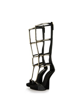 Black Pu Zippered Wedge Heel Roman Sandals