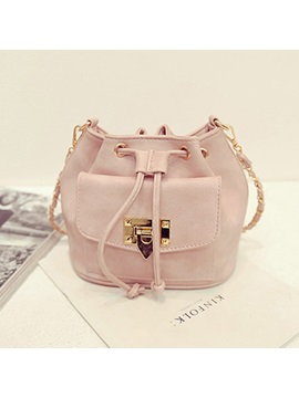 Lock Decorated With Drawstring Womens Bucket Bag