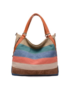 Rainbow Color Womens Canvas Bag
