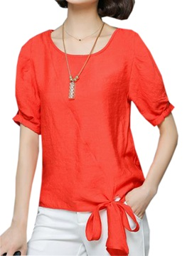 Stylish Lace Up Hem Short Blouse
