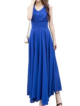 Plain V Empire Waist Maxi Dress