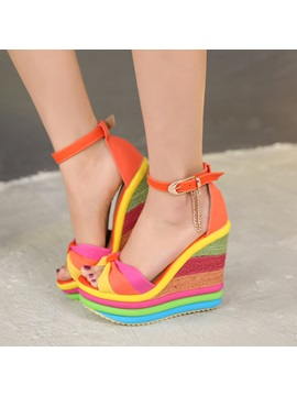 Color Block Bowknots Crochet Wedge Sandals