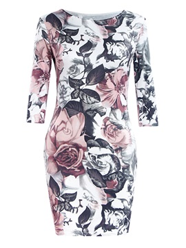 Floral Print Round Neck Bodycon Dress