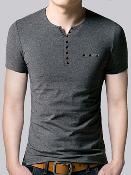 V Neck Slim Fit Mens Short Sleeve T Shirt