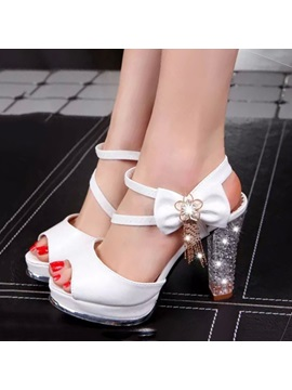 Bowtie Crystal Heel Peep Toe Sandals