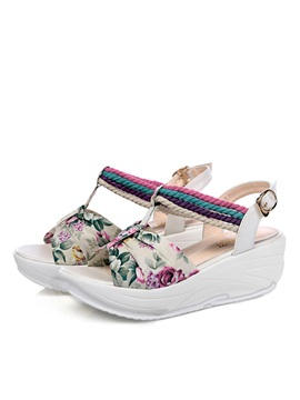 Floral Printed Buckles Beach Sandals