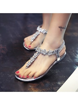 Rhinestone Thong Elastic Band Sandals