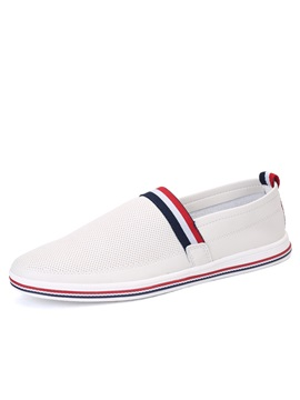 Striped Pu Breathable Loafers