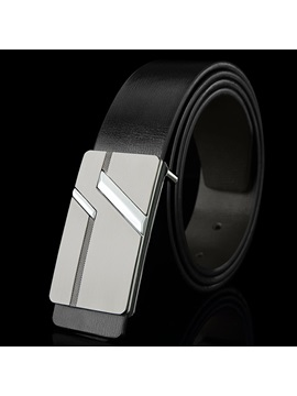 Stylish Smooth Metal Buckle Mens Belt