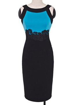 Contrast Color Appliques Slim Bodycon Dress