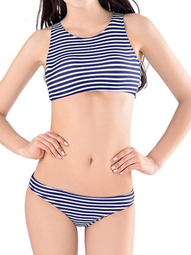 Womens Striped Two Piece Bikini Swimsuit