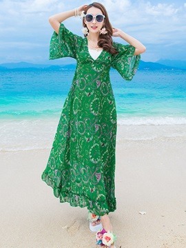 Floral Print Flare Sleeve V Maxi Dress