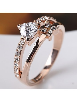 Romantic Heart Design Diamante Ring