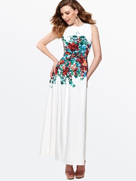 Floral Print Round Neck Sleeveless Slim Dress