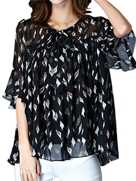 Special Floral Pattern Half Sleeves Blouse