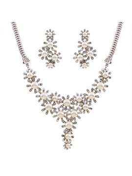 Graceful Flowers Design Pearl Inlay Jewelry Set