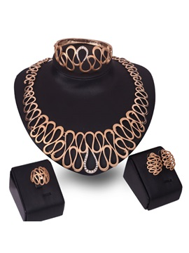 Punk Geometric Design Round Women Jewelry Set