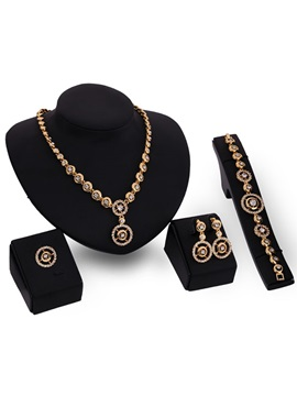 High Quality Alloy Diamante Women Jewelry Set 4 Pieces