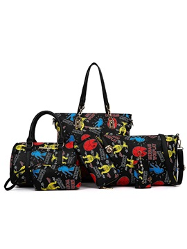 Cartoon Pattern Printed Womens Bag Set Six Bags