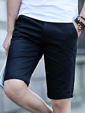 Plain Half Leg Straight Casual Mens Shorts
