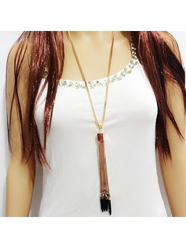 High Quality Turquoise Tassels Pendant Necklace