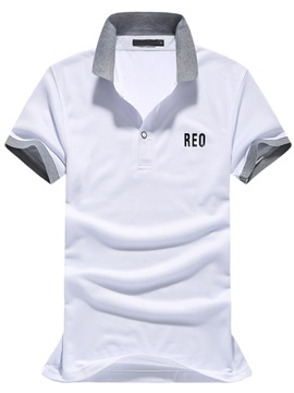 Color Block Mens Letter Printed Polo