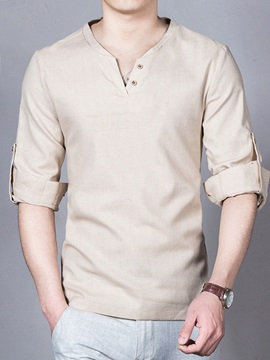 Linen Blends V Neck Mens Long Sleeve T Shirt