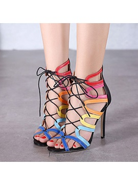 Color Block Cut Out Lace Up Sandals