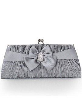 Wrinkled Design Bowknot Decorated Womens Clutch