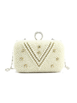 Graceful Pearls Decorated Womens Clutch
