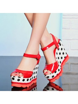 Polk Dots Peep Toe Ankle Strap Wedge