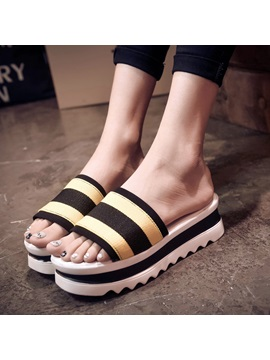 Stripe Printed Slip On Flat Sandals