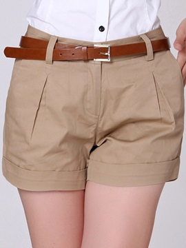 Simple Pleated Loose Fit Shorts No Belt