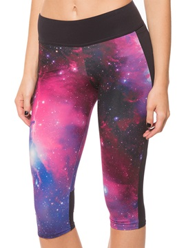 Polyester Purple Galaxy Print Women Yoga Capris