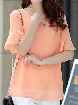Stylish Flare Cuff Chiffon Blouse