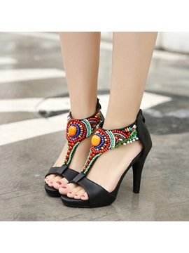 Boho Style Beaded T Strap Sandals
