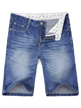 Medium Wash Zipper Mens Denim Shorts