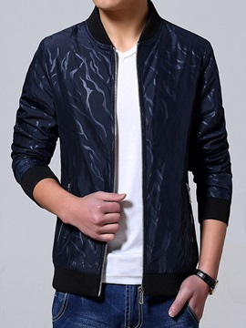 Stand Collar Vogue Printed Mens Casual Jacket