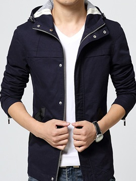 Zipper Hooded Casual Mens Jackets