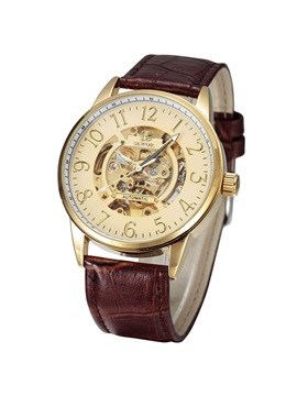 Round Alloy Dial Hollow Men Mechanical Watch