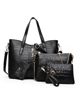 New Croco Embossed Womens Bag Set Four Bags