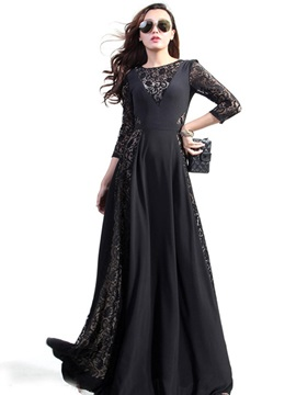 Plain Lace Patchwork Slim Maxi Dress
