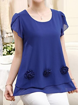 Special Flower Decoration Chiffon Blouse