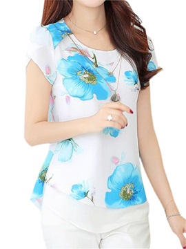 Special Double Layer Floral Printed Chiffon Blouse