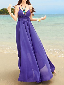 Solid Color V Neck Sleeveless Maxi Dress