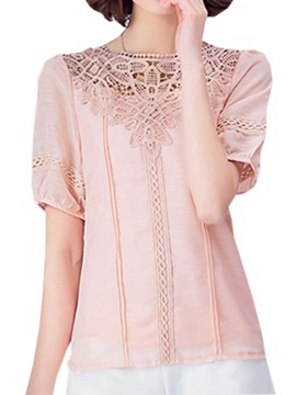 Hollow Lace Collar Slim Blouse