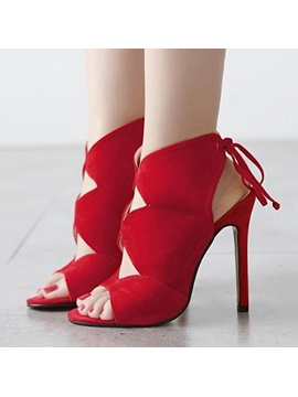 Solid Color Cut Out Stiletto Heel Sandals