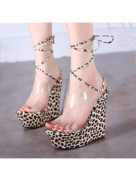 Leopard Printed Pvc Patchwork Lace Up Wedge Sandals