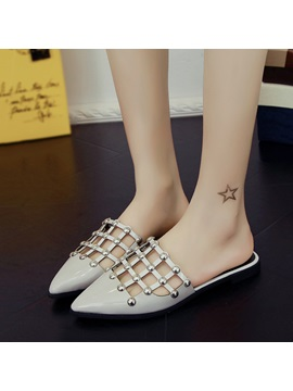 Studded Pu Hollow Mules
