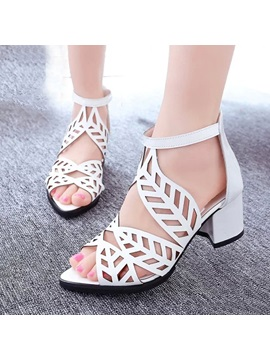 Pu Cut Out Chunky Heel Sandals